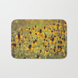 Yellow Hat Dance -- Dreamy Botanical Landscape Mexican Hat Coneflowers Afield Bath Mat