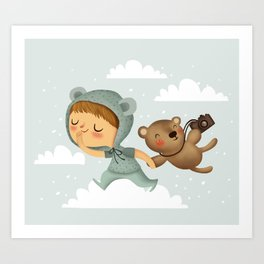 Little boy in blue Art Print