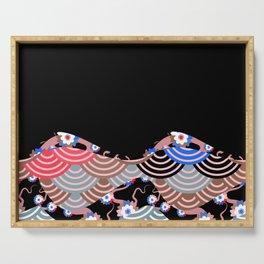 Nature background with japanese sakura flower Cherry, black wave circle pattern Serving Tray