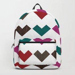 leather geometric love on white Backpack