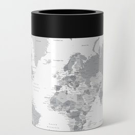 """Gray world map with cities, states and capitals, """"in the city"""" Can Cooler"""