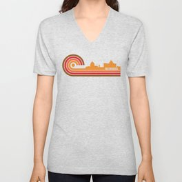 Retro Style Greensboro North Carolina Skyline Unisex V-Neck
