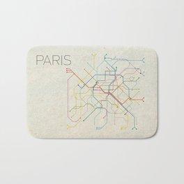 Minimal Paris Subway Map Bath Mat