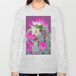 SNOW WHITE PHLOX & FUCHSIA  COSMOS FLOWERS  GARDEN ABSTRACT Long Sleeve T-shirt