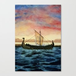 Drakkar, watercolor Canvas Print