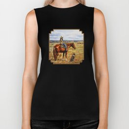 Young Cowgirl on Cattle Horse Biker Tank