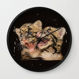 CLOUDED LEOPARD CUBS LOVE Wall Clock