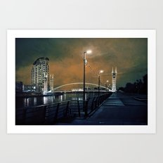 Salford by night Art Print