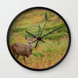 Deer at the mountain side Wall Clock