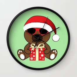 Cool Santa Bear with sunglasses and gift Wall Clock