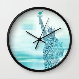 Typographic Statue of Liberty - Aqua Blue Wall Clock