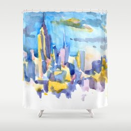 blue icing, print or original watercolor painting by Jessie Novik from rooftop view overlooking NYC Shower Curtain