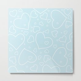 Palest Blue and White Hand Drawn Hearts Pattern Metal Print