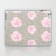 Watercolor roses on Taupe with French script Laptop & iPad Skin