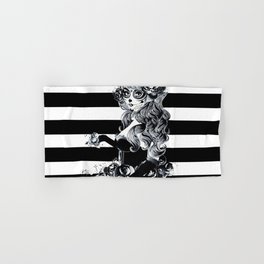Black & White Sugar Skull Girl Hand & Bath Towel