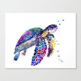 Sea Turtle Rainbow Colors, turtle design illustration artwork animals Canvas Print
