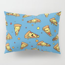Cute Happy Smiling Pizza Pattern on blue background Pillow Sham