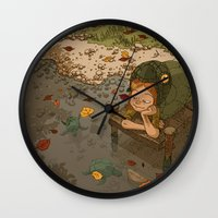 bouletcorp Wall Clocks featuring La rivière aux tortues by Bouletcorp