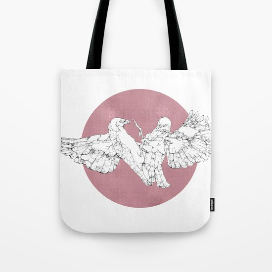 In which scribbly birds fight Tote Bag