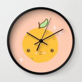 kawaii orange Wall Clock