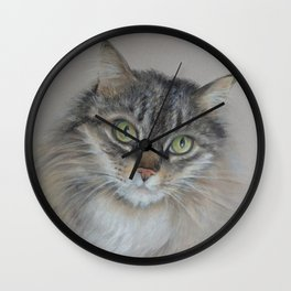 Tabby cat Maine Coon portrait Pastel drawing on the grey background Wall Clock
