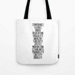 13 Virtues Tote Bag
