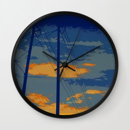 Sunrise Powerlines Wall Clock