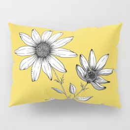 Wildflower line drawing | Botanical Art Pillow Sham