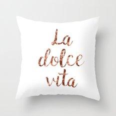 Rose gold La Dolce Vita Throw Pillow