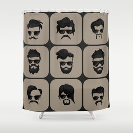 mustache, beard and hairstyle hipster Shower Curtain