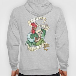 Alan-A-Dale Rooster : OO-De-Lally Golly What A Day Tattoo Watercolor Painting Hoody