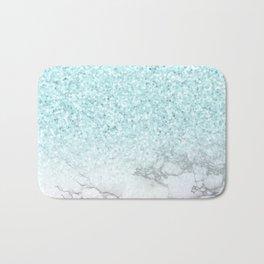Turquoise Sea Mermaid Glitter Marble Bath Mat