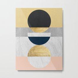 Marble and gold circle Metal Print