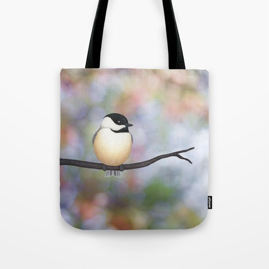 black capped chickadee on a branch Tote Bag