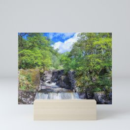 waterfalls forest rock Trossachs National Park Scotland Mini Art Print