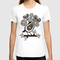 scandinavian T-shirts featuring Scandinavian meets paisley bird hearts flowers by The Big M Ranch