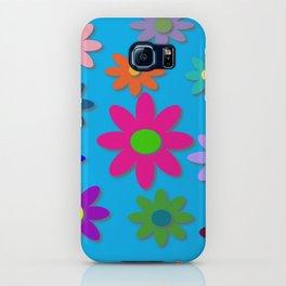 Flower Power - Blue Background - Fun Flowers - 60's Hippie Style iPhone Case