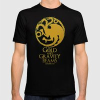 Gold and Gravity Beams Black X-LARGE Mens Fitted Tee