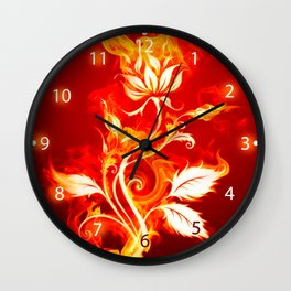 Cool Orange and Yellow Fire Flower Fire Rose Wall Clock