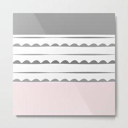 Stripes, pink, white, grey, minimal, line, minimalist, line-art, Metal Print