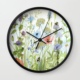 Floral Watercolor Botanical Cottage Garden Flowers Bees Nature Art Wall Clock