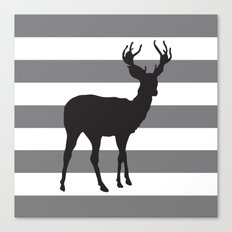 Deer in Black on Grey and White Stripes Canvas Print