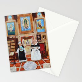 Sister Laica and Fray Polito in the Guadalupana Library of the Carmelite Convent with Tennis Stationery Cards