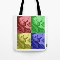 robert downey jr Tote Bags featuring Robert Downey Jr by Mental Activity