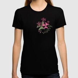 Purple Shamrock Floral Layered Pattern / Green T-shirt