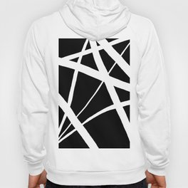 Geometric Line Abstract - Black White Hoody