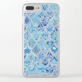 PAISLEY MERMAID Watercolor Scale Pattern Clear iPhone Case