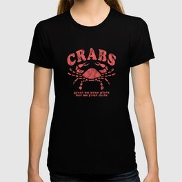 Funny Crabs Great on Your Plate Not on Your Mate Red T-shirt