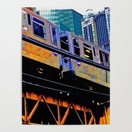 Chicago 'L' in multi color: Chicago photography - Chicago Elevated train Poster