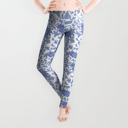 Chinoiserie Vines in Delft Blue + White Leggings
